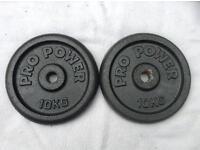 2 x 10kg Pro Power Standard Cast Iron Weights