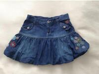 GIRLS DESIGNER DENIM SKIRT AGE 11 YEARS