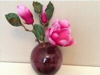 Glass Plum vase With pink flowers