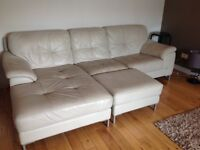 Left Hand Facing Large Leather Chaise End Sofa in stone colour with large footstool