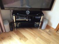 5 Black glass and chrome good condition- tv stand/coffee table/ set 3 nest of tables