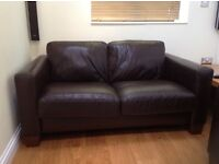 2 seater sofa for sale (chocolate brown leather)
