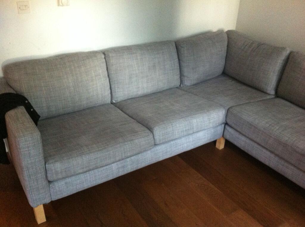 Ikea Karlstad 2 3 Corner Sofa In Isunda Grey