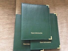 Three Guest Information folders for Hotel, Guest House or B&B. £7.50 each.