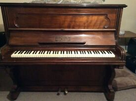 "Carl Hardt Stuttgart upright piano 50"" high no 4462 iron frame good condition."