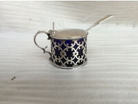 Victorian Silver Mustard Pot and Spoon