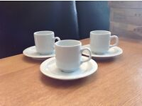 Small White Ceramic Cup and Saucers x 6