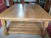Solid Pine coffee table & side cabinet