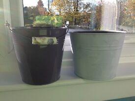Purple & Lilac Metal Plant Pots
