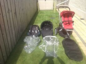 Quinny push chair with 3in1 travel system and boogey board