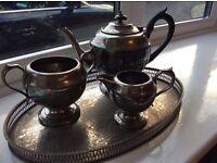 Silver played tea pot, sugar bowl and milk jug- including tray