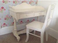 Shabby chic dressing table plus chair white ornate heavy VGC