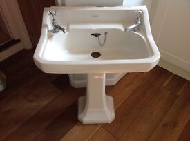 Traditional Edwardian style large white ceramic Shanks pedestal basin for bathroom, 2 taps fitted