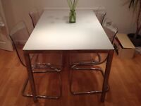 IKEA GLASS TOP DINING ROOM TABLE