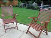 Solid wood folding garden table and 2 reclining chairs