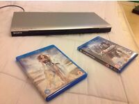 SONY DVD PLAYER + 2 NEW BLUE RAY DISCS