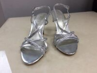 Silver Wedding Party Sandals, Size 3