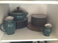 Denby Greenwich dinner service for 8 people plus serving dishes and more - 67 pieces in all.