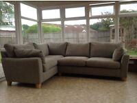 Next textile right hand corner sofa.