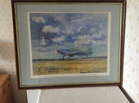 Framed picture of a Hurricane monoplane fighter by Colin Wilson.