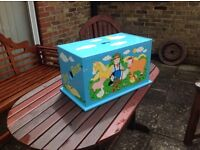 Solid wooden, craft fare hand painted toy box £20
