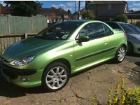 Peugeot 206 cc late edt lime green