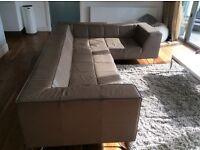 Mastrella Taupe Leather Corner Sofa Original rrp £4,800