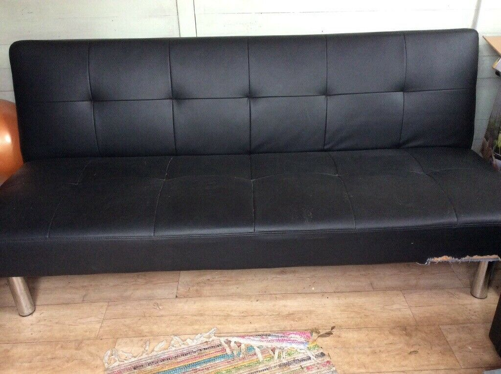 Black faux leather click clack sofa bed | in Swindon, Wiltshire ...