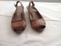 Ladies size 3 Marks and Spencer leather brown sandals