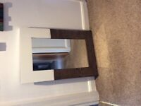 Large wall mirror with brown & cream wooden surround
