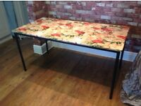 INDUSTRIAL STEEL BASED LEGS AND FRAME WITH COVERED TABLE TOP - CAN DELIVER