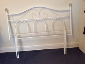 White metal headboard will fit double bed