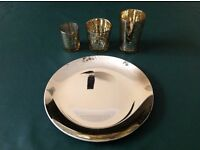 Three Gold Vintage Style Tealight Holders on Round Glass Plate Gift Set