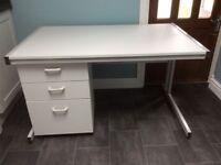Grey Desk and Matching Pedestal