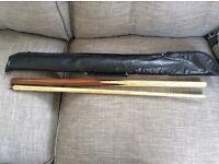 Peradon tournament snooker cue with case 58'm 2 piece ash