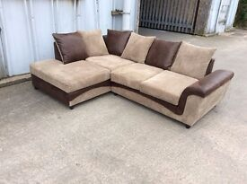 Brown and Mocha Jumbo Cord and Leather Corner Sofa - Ex display - £249 Including Free Local Delivery