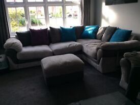 Lullabye Grey Corner Sofa and Pouffe - Very Good Condition £225