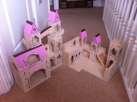Melissa and Doug Wooden Folding Princess Castle With Drawbridge and Turrets