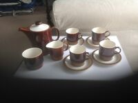 Poole coffee set in chestnut brown retro style