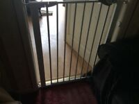 Safety gate for sale in white can be extended at sides no need for screws