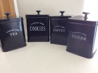 Gloss black tea, coffee, sugar & cookies storage pots containers canisters, vgc -West Kirby, Wirral