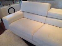 Contemporary 2 x 3 seater white leather sofas