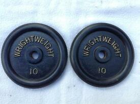 2 x 10lb (4.5kg) Wrightweight Standard Cast Iron Weights