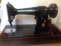 SINGER SEWING MACHINE No 201K 1950s +accessories