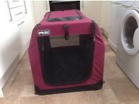 Petzden canvas fold flat pet retreat extra large. Has carry handle for easy transport