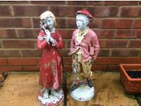 1930s BOY & GIRL SPELTER FIGURINES 21inches high