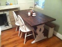 SHABBY CHIC TABLE farmhouse cottage and 2 chairs 1 bench rustic