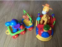 Fisher price animal train and vtech ride along train