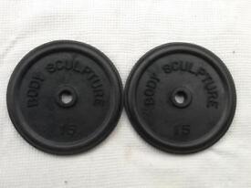 2 x 15lb (6.8kg) Bodysculpture Standard Cast Iron Weights