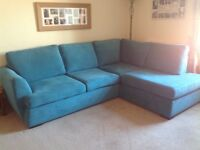 DFS Trilogy open end, left hand facing corner sofa. Teal in colour,3 months old, as new